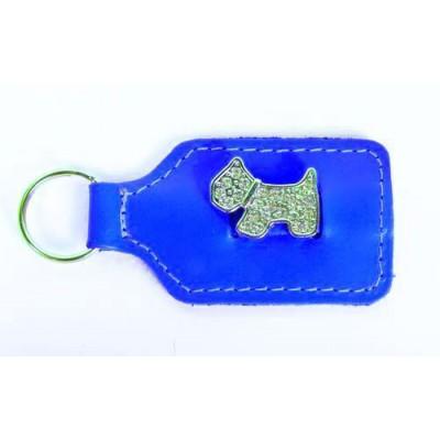 Portachiavi pelle azzurro con cagnolino con strass in rilievo per cani