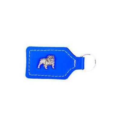 Portachiavi pelle blu con Bulldog inglese in rilievo per cani
