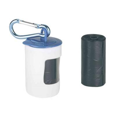Portasacchetti igienici con Moschettone. 20 sacchetti inclusi per cani