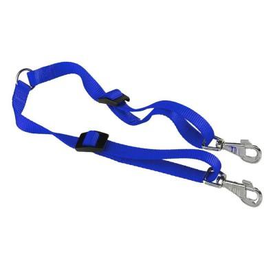 Terminale doppio in nylon per guinzaglio. TWIN 15/42 Blu per cani