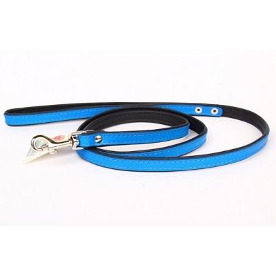Guinzaglio pelle Blu 120 cm x 16 mm per cani