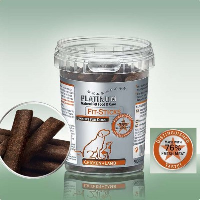 Snack Platinum Fit Sticks Chicken e Lamb. 76% Carne fresca per cani