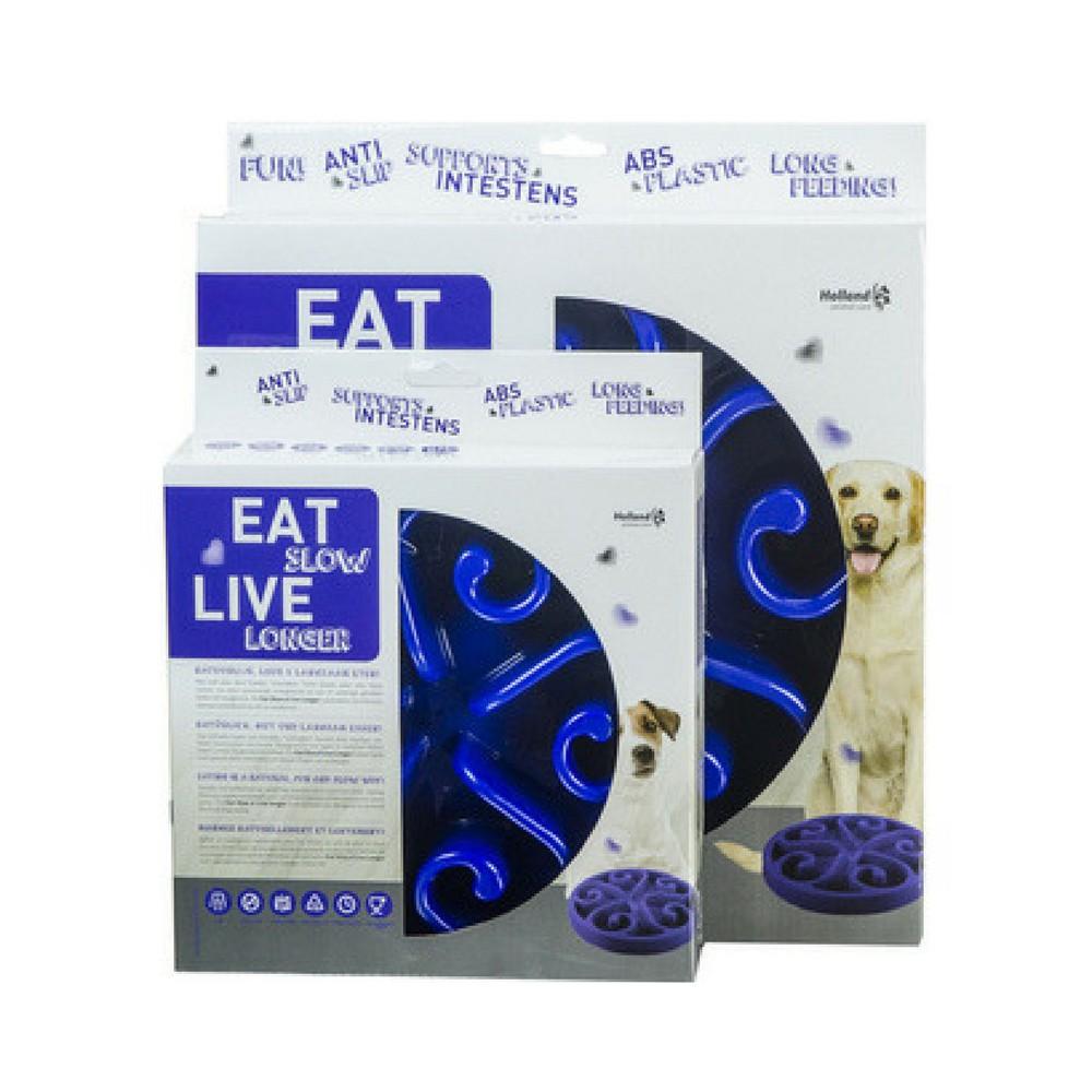 Ciotola plastica Rallenta pasti Eat Slow Blu per cani