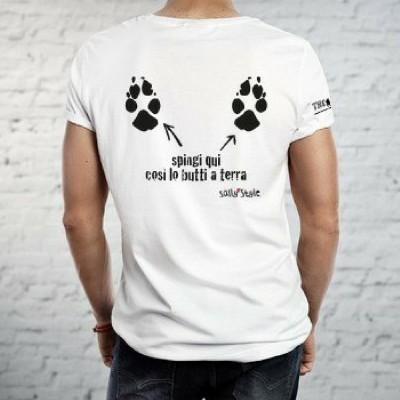 T-shirt caniaddestraumani Spingi qui... Maglietta sallystyle gadget cani