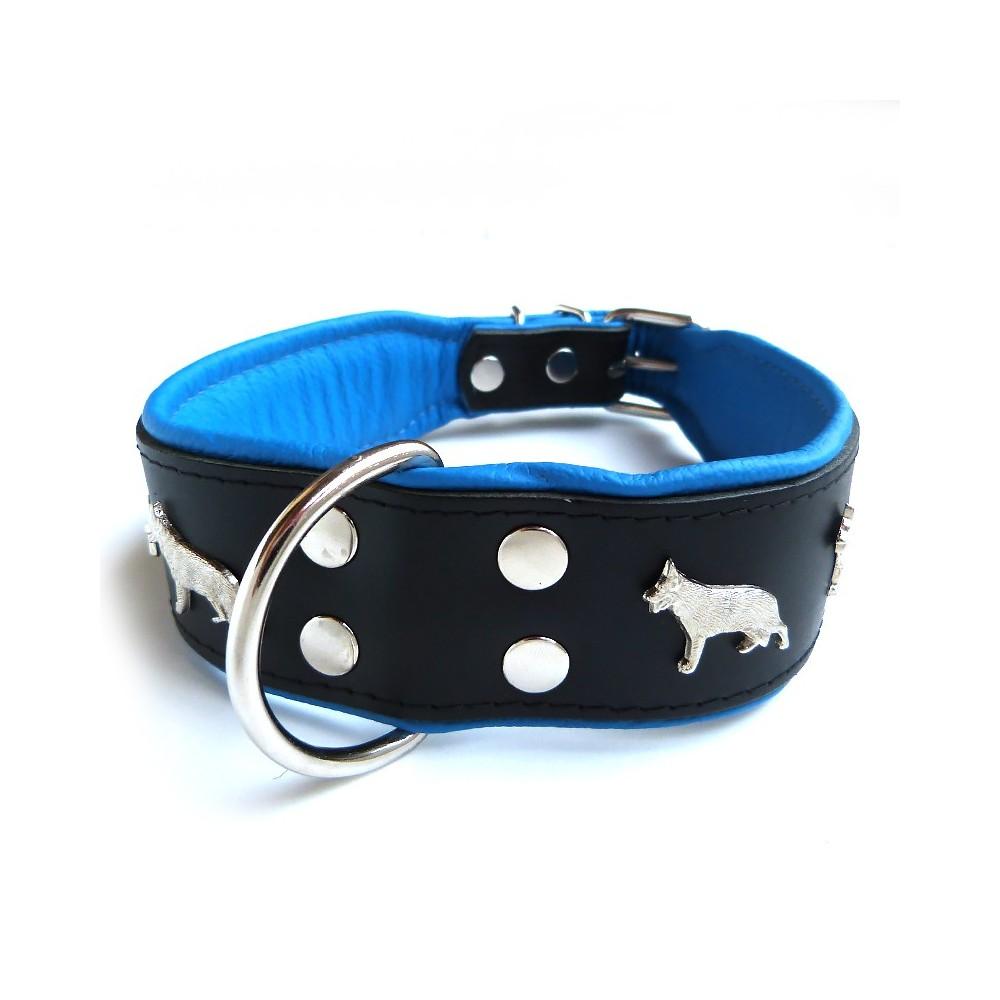 Collare pelle rilievo Pastore tedesco 65 cm. Nero e Blu per cani