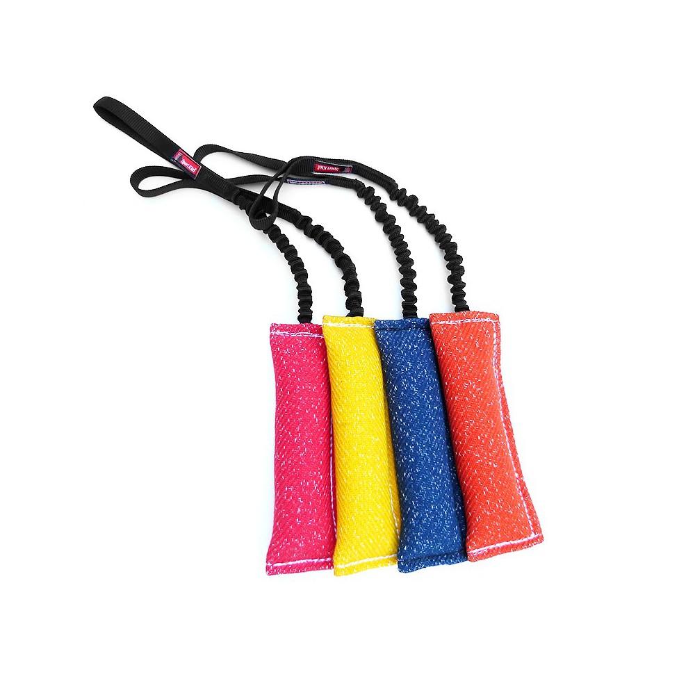 Salamotto tela francese maniglia elastica BUNGEE. tug Nero per cani