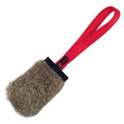 Tug pelo di coniglio con squeak Rosso TUG-E-NUFF per cani