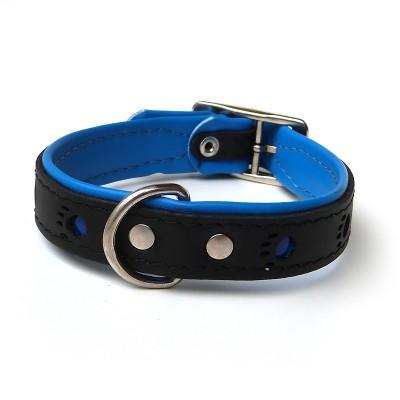 Collare pelle Nero zampe riflettenti Blu 45 cm per cani