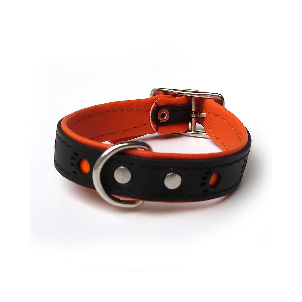 Collare pelle Nero zampe riflettenti Arancione 35 cm per cani