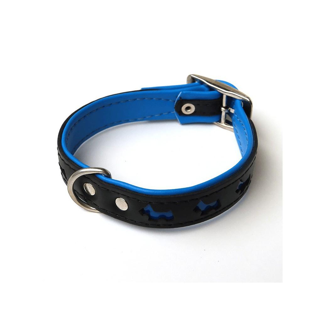 Collare pelle Cagnolini Riflettenti 45 cm Blu per cani