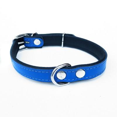 Collare pelle Lavorazione artigianale, BLU per cani