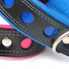 Collare pelle Nero pallini riflettenti Blu per cani