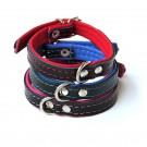 Collare pelle Nero inserti Blu per cani