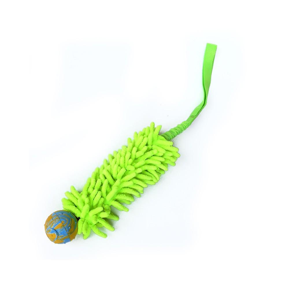 Tug con pallina Maniglia Maniglia Bungee Ammortizzata. verde per cani