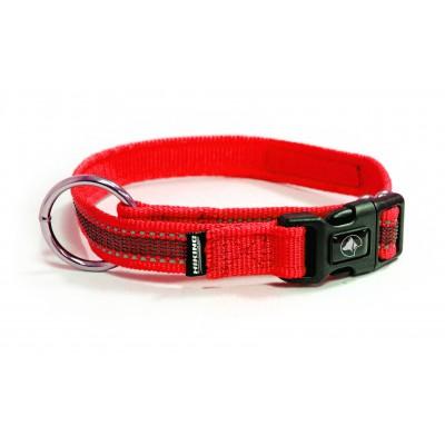 Collare Gommato Antiscivolo Chiusura Clip nylon Rosso per cani
