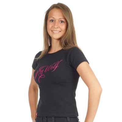 T-shirt manica corta donna K9 wolf Logo gommato Rosa addestramento cani