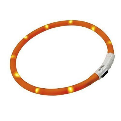 Collare LED ricarica USB arancione per cani