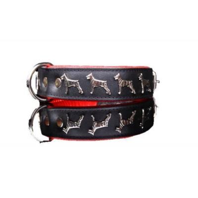 Collare pelle Dobermann45 cm. Nero rosso per cani