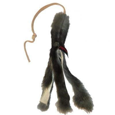 Tug pelo coniglio con longhina in pelle per cani