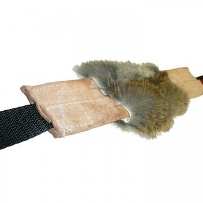 Tug Pelle con pelo coniglio doppia impugnatura per cani