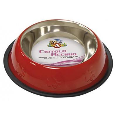 Ciotola Acciaio Rossa 0,95 Lt. - Diam. 25 cm per cani