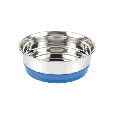 Ciotola Acciaio base antiscivolo Blu Fluo per cani