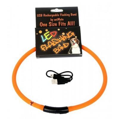 Collare LED ricaricabile con USB L. max 70 cm Arancio