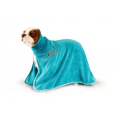 Accappatoio microfibra per cani Azzurro Tg. M per cani