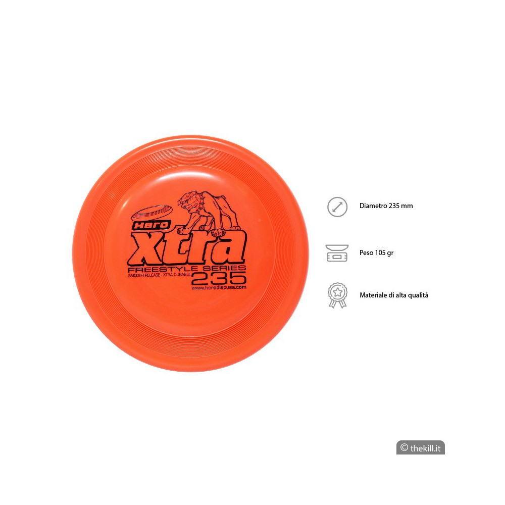 Frisbee DISC DOG HERO X-TRA 235 FREESTYLE ARANCIO per cani