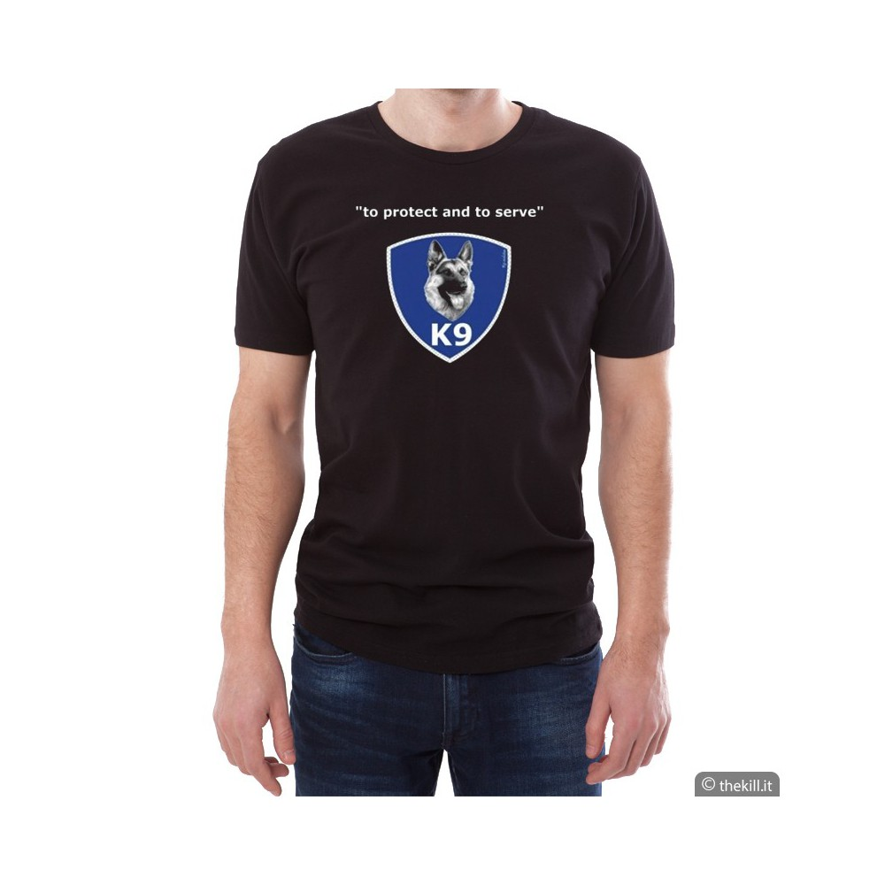 "T-shirt unisex Pastore Tedesco \""To Protect and To Serve\\"" addestramento cani"