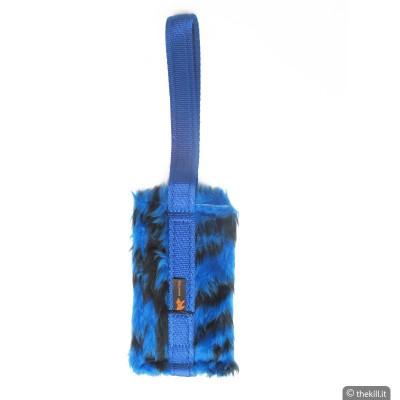 Tug pelo con Tasca porta premietti con velcro. BLU Zebrato per cani