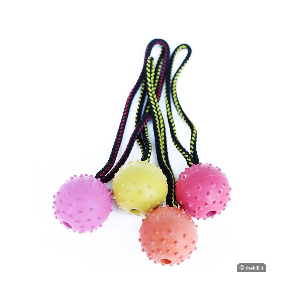 Pallina corda doppia gomma Diam. 60 mm. per cani