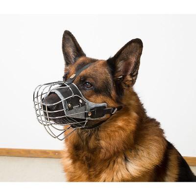 Museruola in metallo e cuoio realizzata per Pastore Tedesco per cani