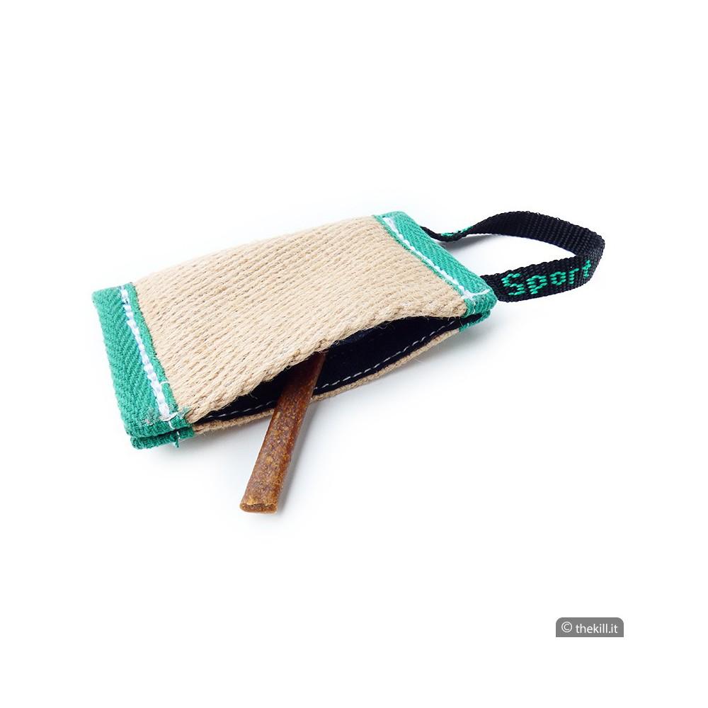 Manicotto porta bocconi in Juta con maniglia per cani