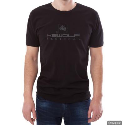 T-Shirt uomo Nera con Logo K9 Wolf gommato - Alta qualità addestramento cani