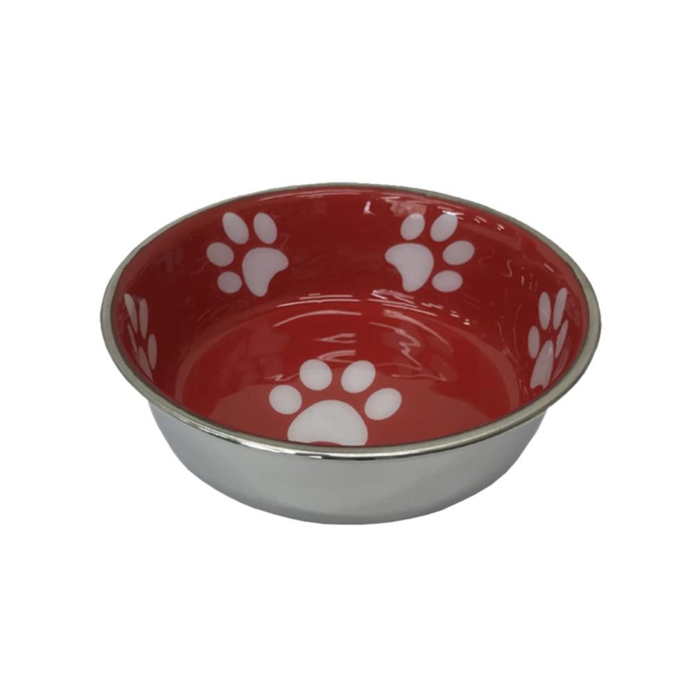 Ciotola robusta in acciaio inossidabile Rossa per cani