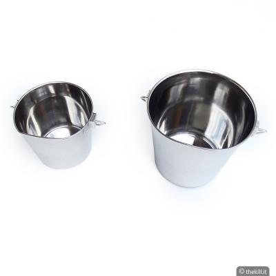 Secchiello in acciaio inossidabile con un lato piatto per cani
