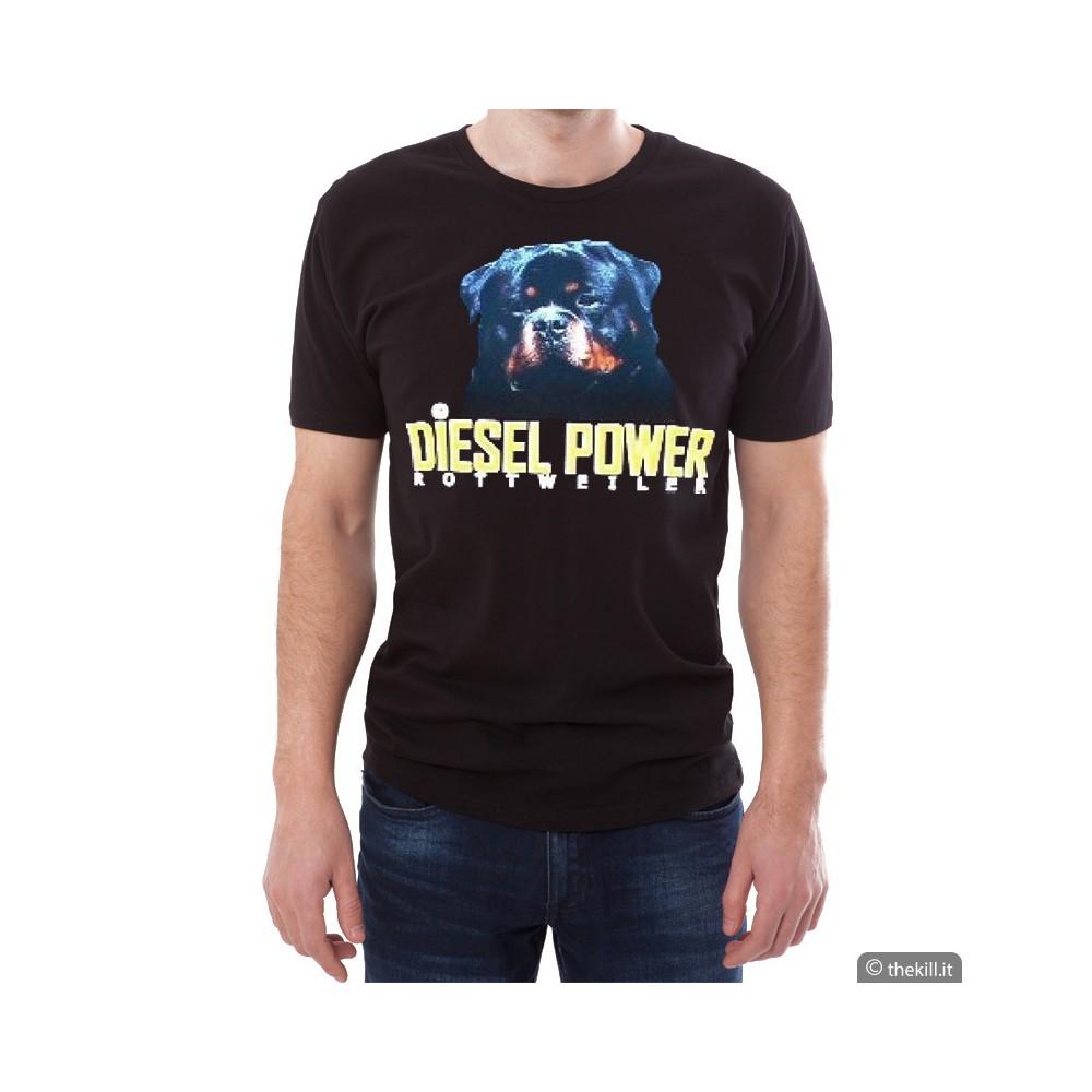 T-shirt Nera unisex Diesel Power Rottweiler L addestramento cani