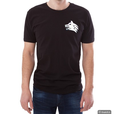 T-shirt unisex Nera - Logo K-9 Wolf Argentato addestramento cani