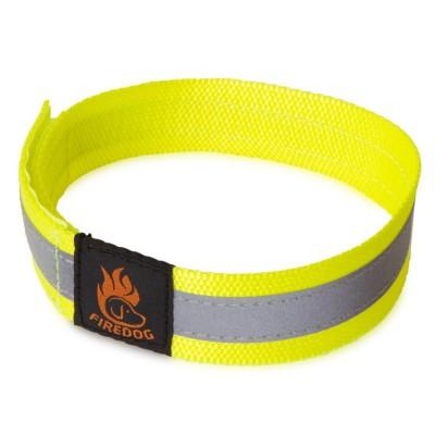 Collare Firedog riflettente con velcro giallo neon per cani
