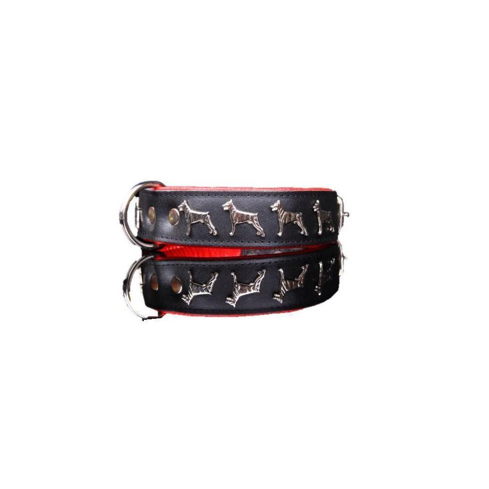 Collare pelle Dobermann 50 cm. Nero rosso per cani