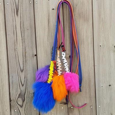 Tug in montone Merino colorato con bungee e maniglia per cani