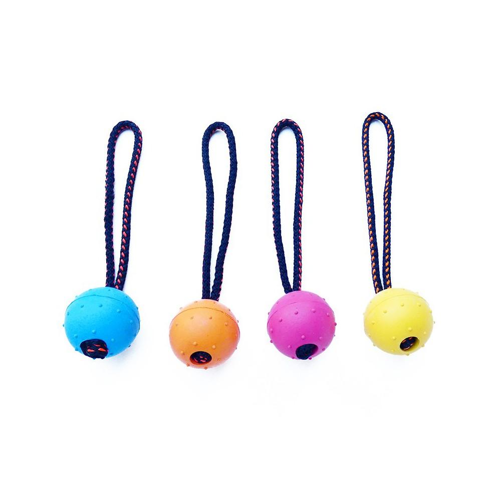 Pallina corda doppia, 6,5 cm. gomma per cani