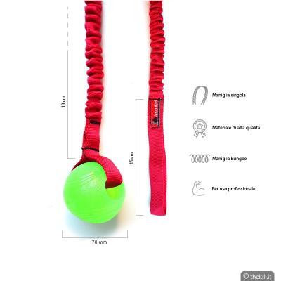 Pallina gomma con corda elastica BUNGEE. Morbida, Verde per cani