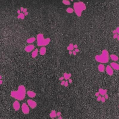 Vet Bed tappeto antiscivolo Antracite con Zampe Rosa