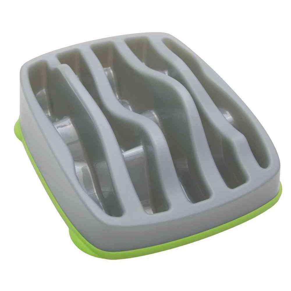 Ciotola plastica Rallenta pasti Slo-Bowl Grigio per cani